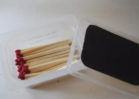 matches sandpaper pack camping hack