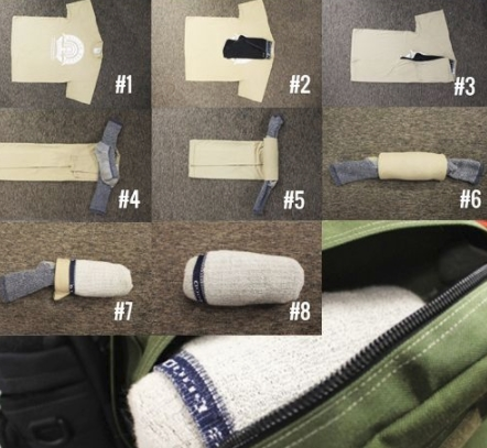 fold clothes camping backpack tip