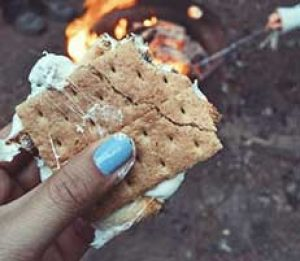 hand holding s'mores over a campfire