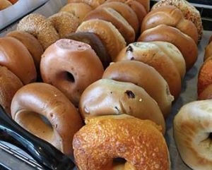 lineup of different types of bagels including cheese plain and cinnamon raisin