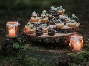 cupcakes arranged around a nature scenery