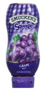 grape jelly in a squeeze container