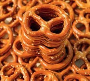 stack of salted pretzels