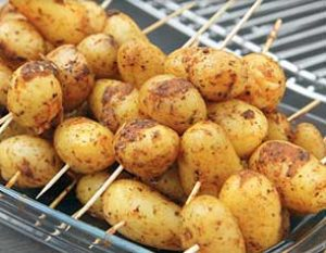 campfire roasted potatoes on skewers