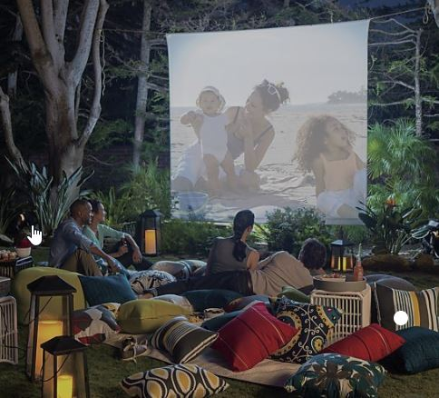 glamping idea with movie screen