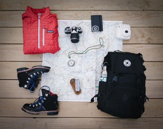 camping gear layout