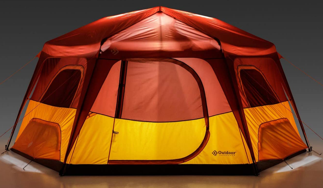 red and yellow tent with built in lights