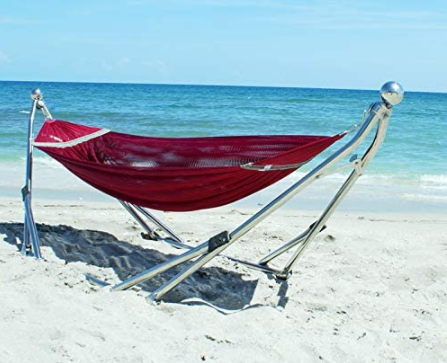 hammock stand with hammock outdoors