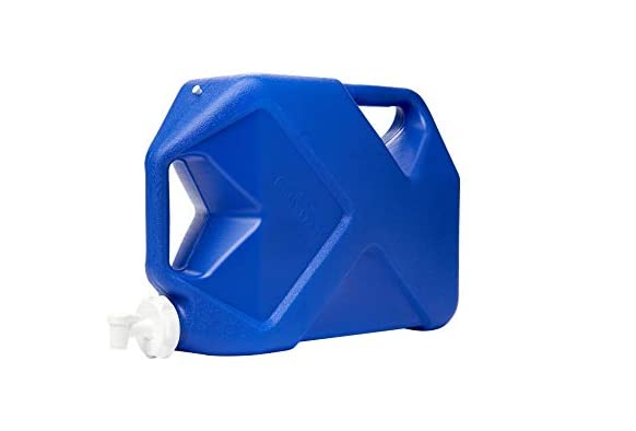 blue camping water container