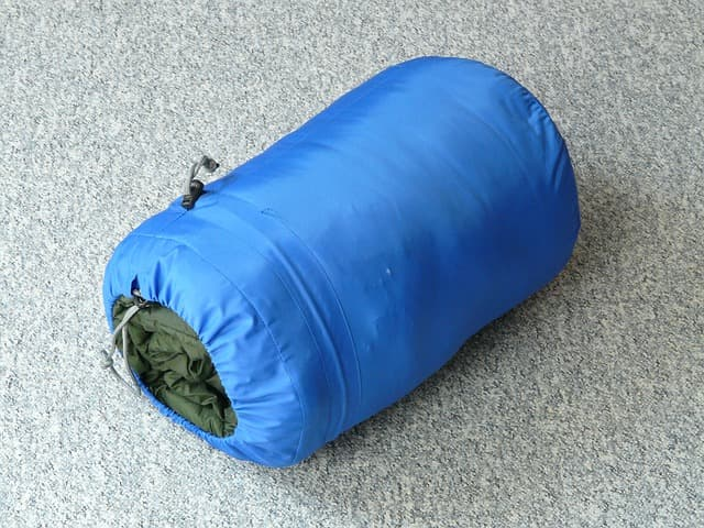 rolled up packable sleeping bag